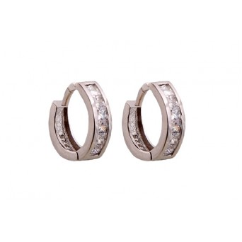 VFJ Sterling Silver Pave Zirconia Double Hoop Earrings