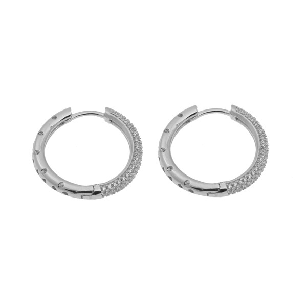 VFJ Awesome Silver Pave Zirconia Round Hoop Earrings