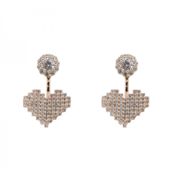 VFJ Rose Silver Ear Jackets Zirconia Earrings