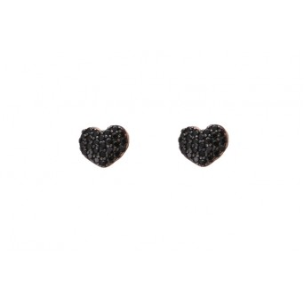 VFJ  Rose Sterling Silver Black Zirconia Heart Earrings