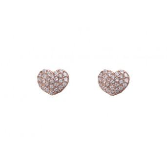 VFJ Σκουλαρίκια μικρή καρδιά από ροζ ασήμι με λευκά ζιργκόν