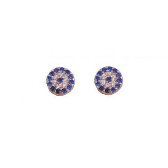 VFJ Rose silver target eye earrings with zirconia