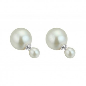 VFJ Sterling Silver Tribal Double Pearl Earrings