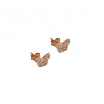 VFJ Ασημένια σκουλαρίκια πεταλούδες με λευκά ζιργκόν