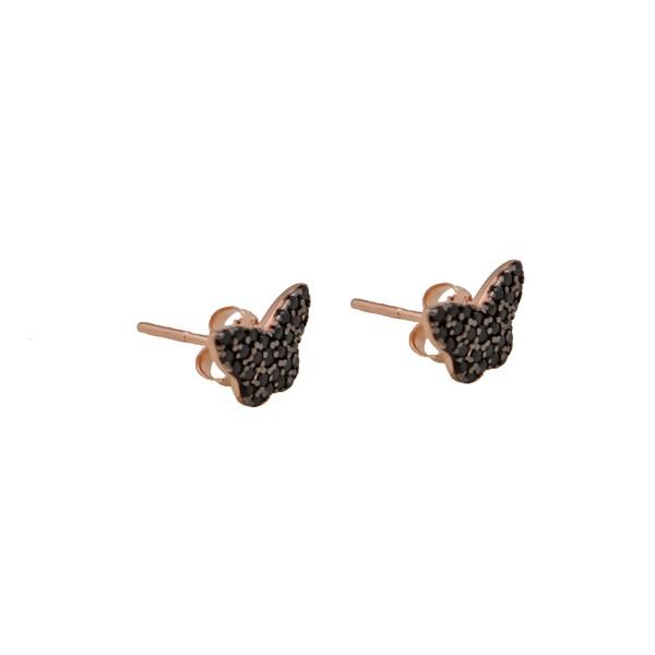 VFJ Rose Sterling Silver Black Zirconia Butterfly Earrings