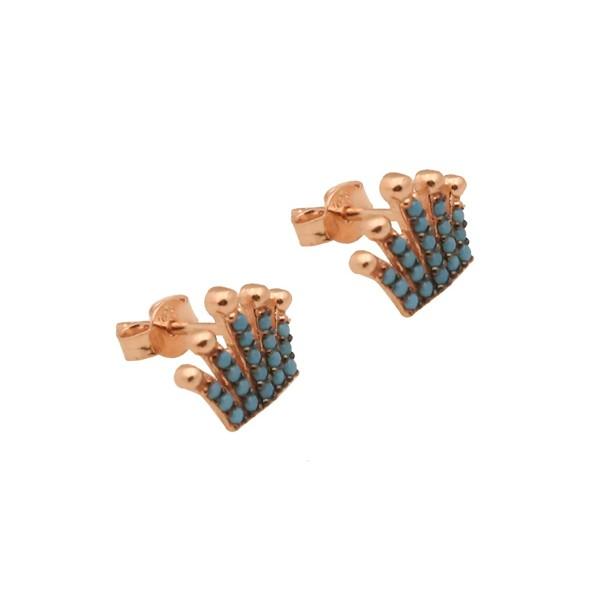 VFJ Ασημένια καρφωτά σκουλαρίκια κορώνα με τιρκουάζ ζιργκόν