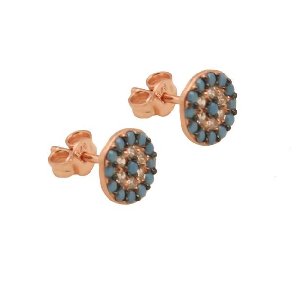 VFJ  Rose Sterling Silver TurquoiseTarget Eye Earrings