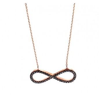 VFJ Rose silver infinity black zirconia necklace
