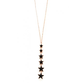 VFJ Rose silver black stars charm zirconia necklace