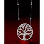 VFJ  Ασημένιο κολιέ δέντρο της ζωής  με ζιργκόν