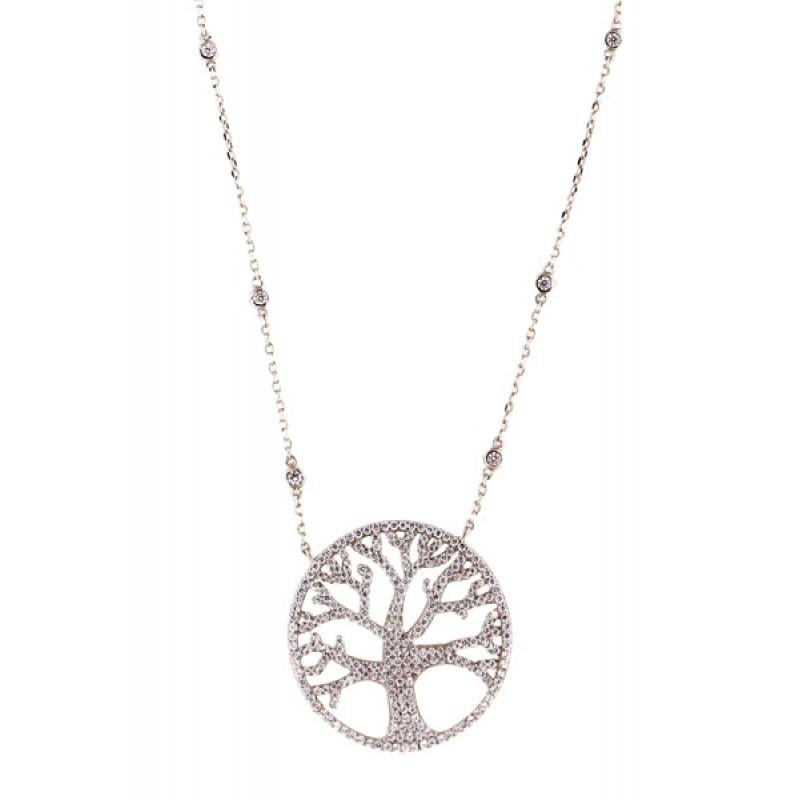 VFJ Ασημένιο κολιέ δέντρο της ζωής με ζιργκόν de1e42f061c