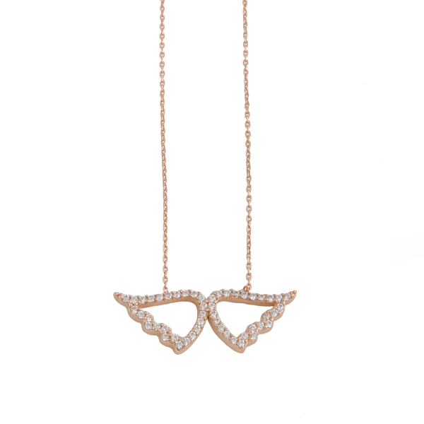 VFJ Rose silver angel wings white zirconia necklace