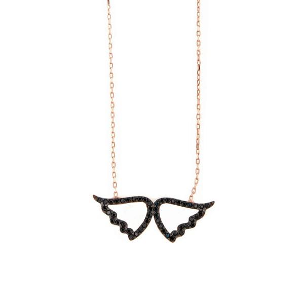 VFJ Rose silver black angel wings charm zirconia necklace
