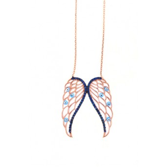 VFJ Rose silver white angel wings charm zirconia necklace