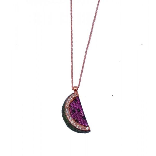 VFJ Ασημένιο κολιέ αλυσίδα καρπούζι ροζ χρυσό με ζιργκόν