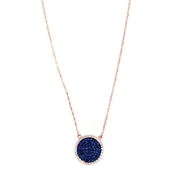 VFJ Ασημένιο ροζ χρυσό κολιέ κύκλος αλυσίδα με μπλε ζιργκόν