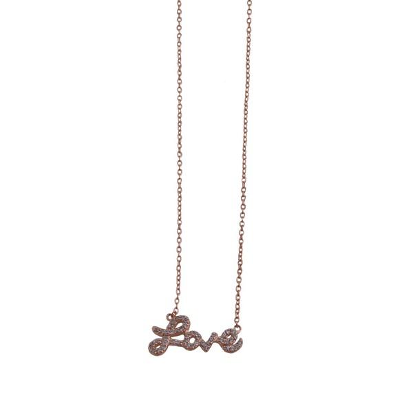 VFJ Ασημένιο ροζ χρυσό κολιέ Love αλυσίδα με λευκά ζιργκόν