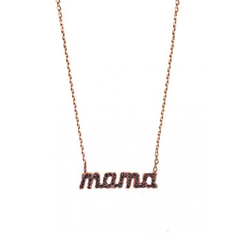 VFJ Rose silver black mama zirconia necklace
