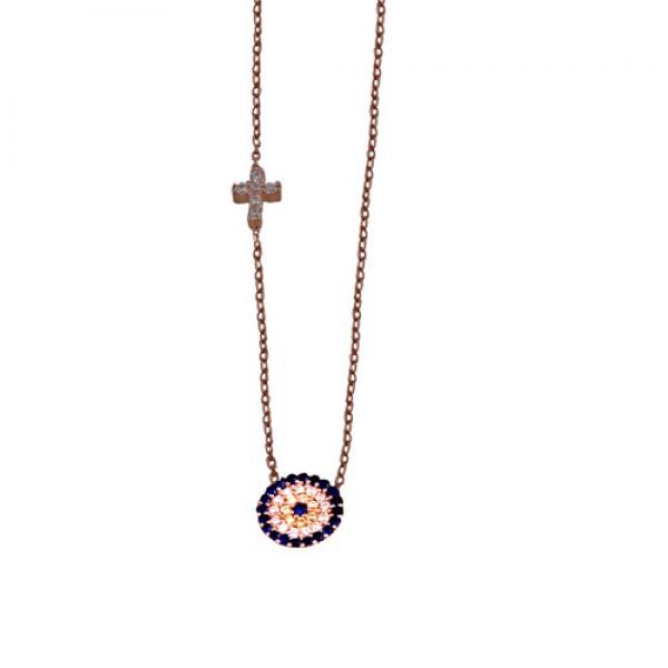 VFJ Κολιέ μάτι στόχος με σταυρό από ροζ ασήμι με ζιργκόν