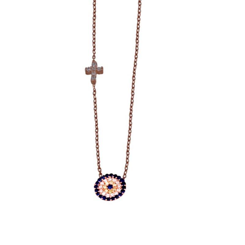 VFJ Κολιέ μάτι στόχος με σταυρό από ροζ ασήμι με ζιργκόν ecf97474706