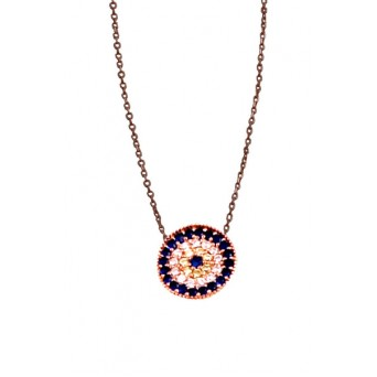 VFJ Rose gold plated silver target eye charm necklace