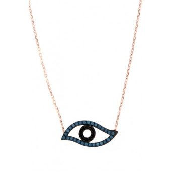 VFJ Rose silver evil eye turquoise charm necklace