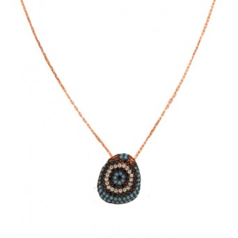 VFJ Rose gold plated silver pave eye charm necklace