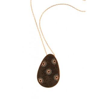VFJ Silver flowers necklace pave zirconia drop pendant