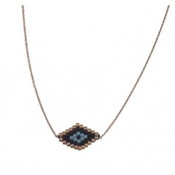 VFJ Rose silver miyuki rhombus eye charm necklace