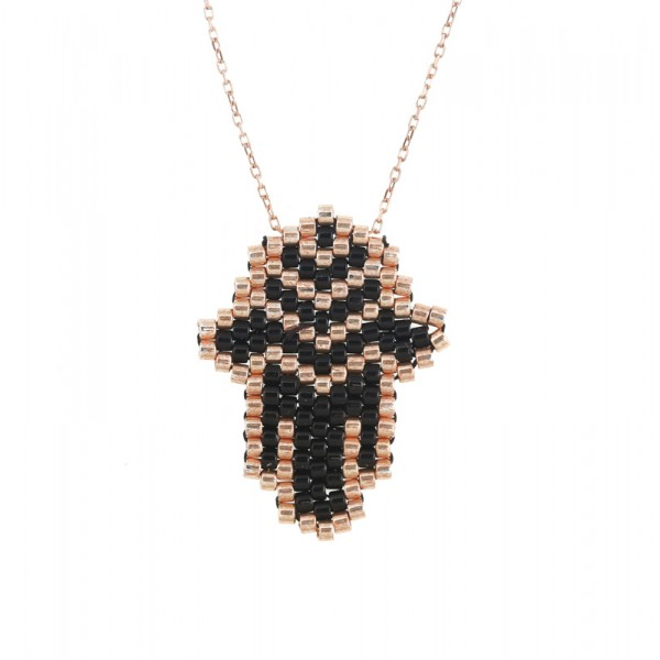 VFJ Rose gold plated silver Fatima hand charm necklace