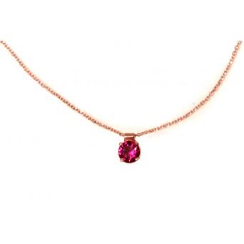 Cr Μονόπετρο ροζ χρυσό κολιέ με φούξια ζιργκόν