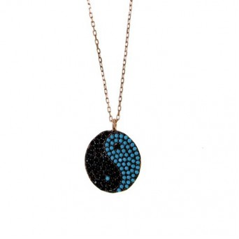 VFJ Rose gold plated silver yin yang necklace
