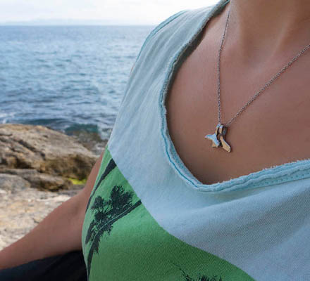 silver necklace mermaid's tails (mother and daughter)