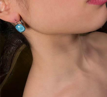 κρεμαστα σκουλαρικια καλοκαιρινα πετρα μπλε