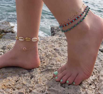 handmade seashell ankle bracelet