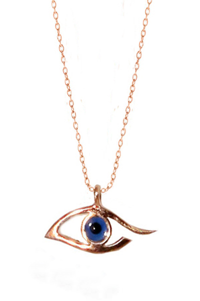 Jt Κολιέ μπλε μάτι από ροζ ασήμι