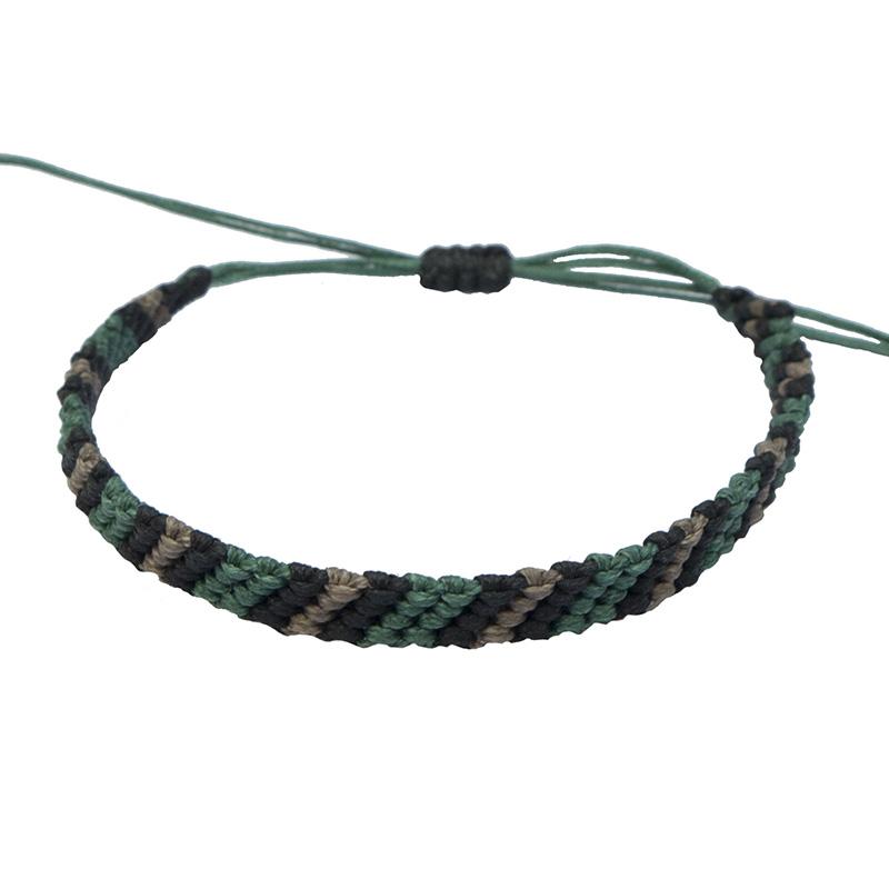 Siballba Ανδρικό Βραχιόλι Μακραμέ Πράσινο, Μαύρο, Γκρι