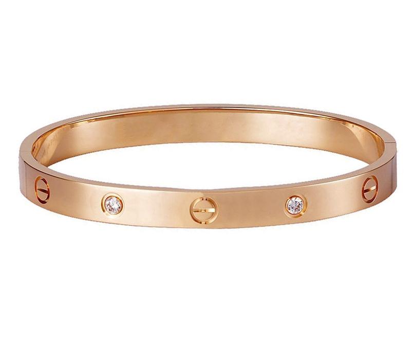 Mc Ροζ ατσάλινο βραχιόλι τύπου Love Bracelet με κρύσταλλα