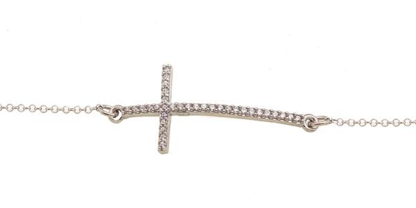 Aetoma Ασημένιο βραχιόλι σταυρός με ζιργκόν
