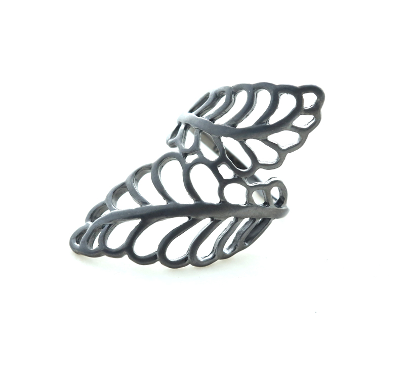 Aetoma Δαχτυλίδι διπλό φύλλο από ασήμι με μαύρο πλατίνωμα