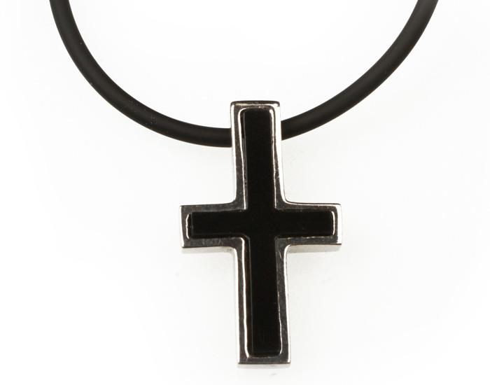 Aetoma Ασημένιος Ανδρικός Σταυρός με Έβενο σε Καουτσούκ