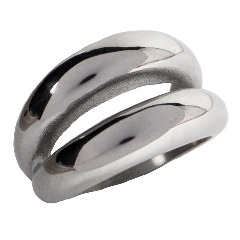 AD Εντυπωσιακό δαχτυλίδι διπλός θόλος ατσάλινο