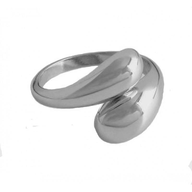 AD Ασημένιο δαχτυλίδι δύο θόλοι ανοιχτοί