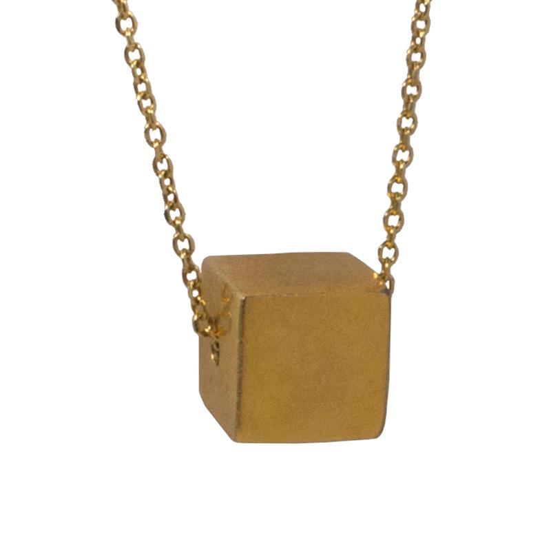 AD Ασημένιο χρυσό κολιέ κύβος σε αλυσίδα