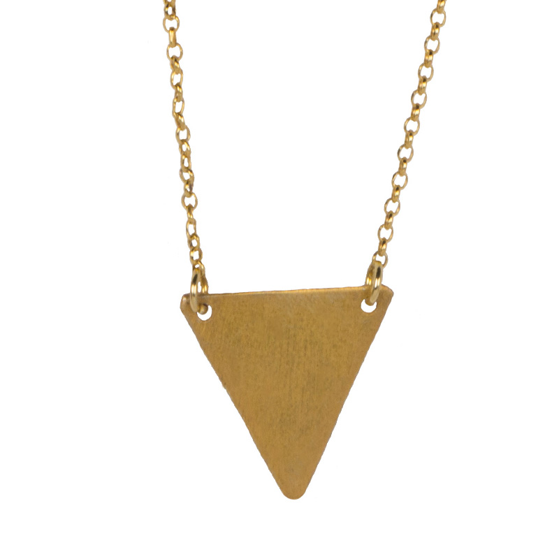 AD Ασημένιο επίχρυσo κολιέ τρίγωνο πλατύ