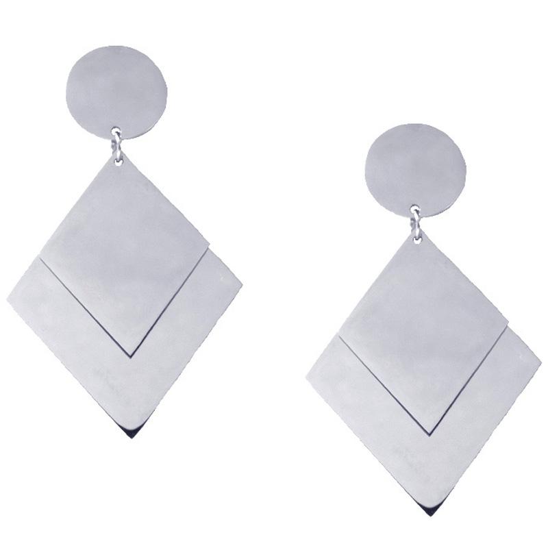AD Ατσάλινα σκουλαρίκια κρεμαστά τρίγωνα καθρέφτες