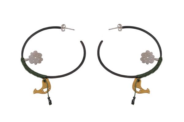 Antria Ασημένια σκουλαρίκια κρίκοι με πουλιά και δέντρα