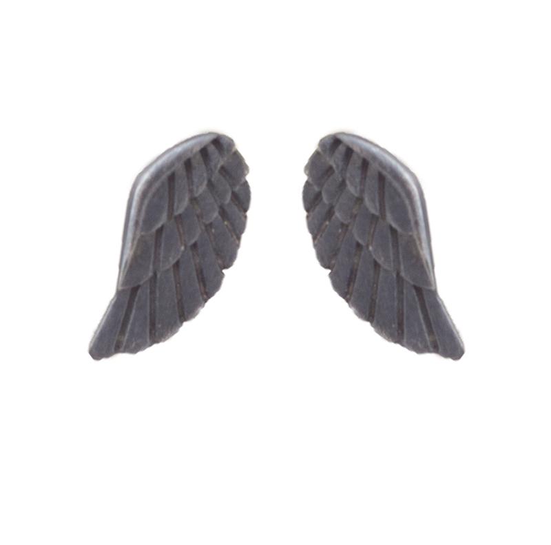 Antria Ασημένια σκουλαρίκια φτερά αγγέλου μαύρο πλατίνωμα