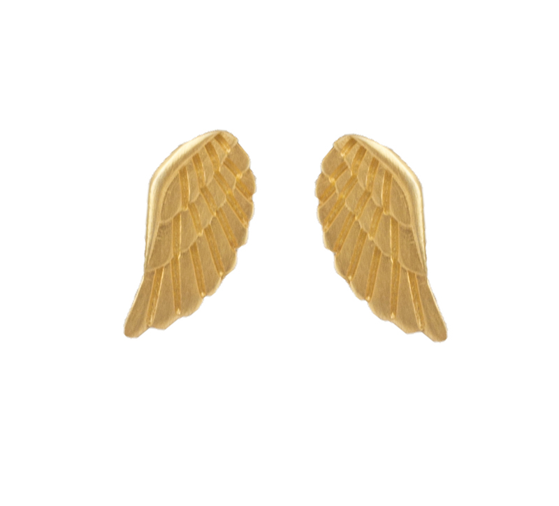 Antria Ασημένια επιχρυσωμένα σκουλαρίκια φτερά αγγέλου