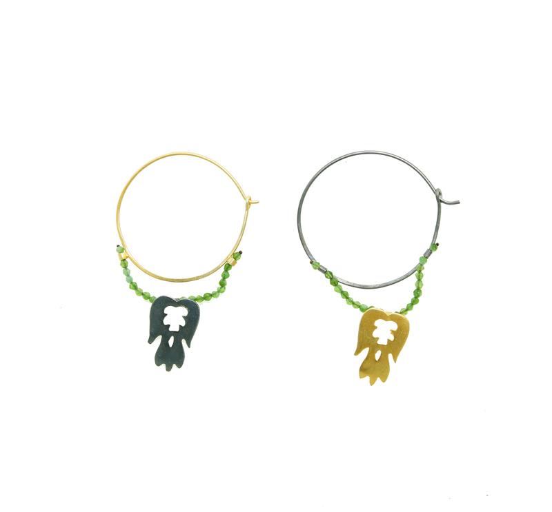 Antria Ασημένια σκουλαρίκια κρίκοι με αγγέλους και ζαντ
